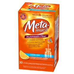Metamucil MultiHealth Fiber Powder, Orange Flavor, Packets, 37000002404, Box of 30