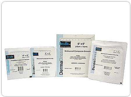 "DermaDress Waterproof Composite Dressing, 6 X 6"", 00277E, Box of 10"
