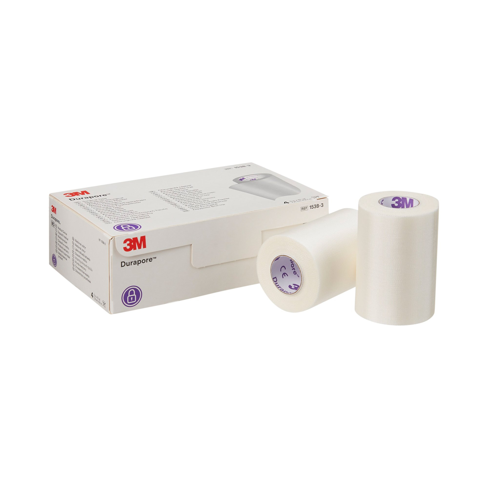"3M Durapore Silk-Like Cloth Medical Tape, 3"" x 10 yd, 1538-3, Box of 4"