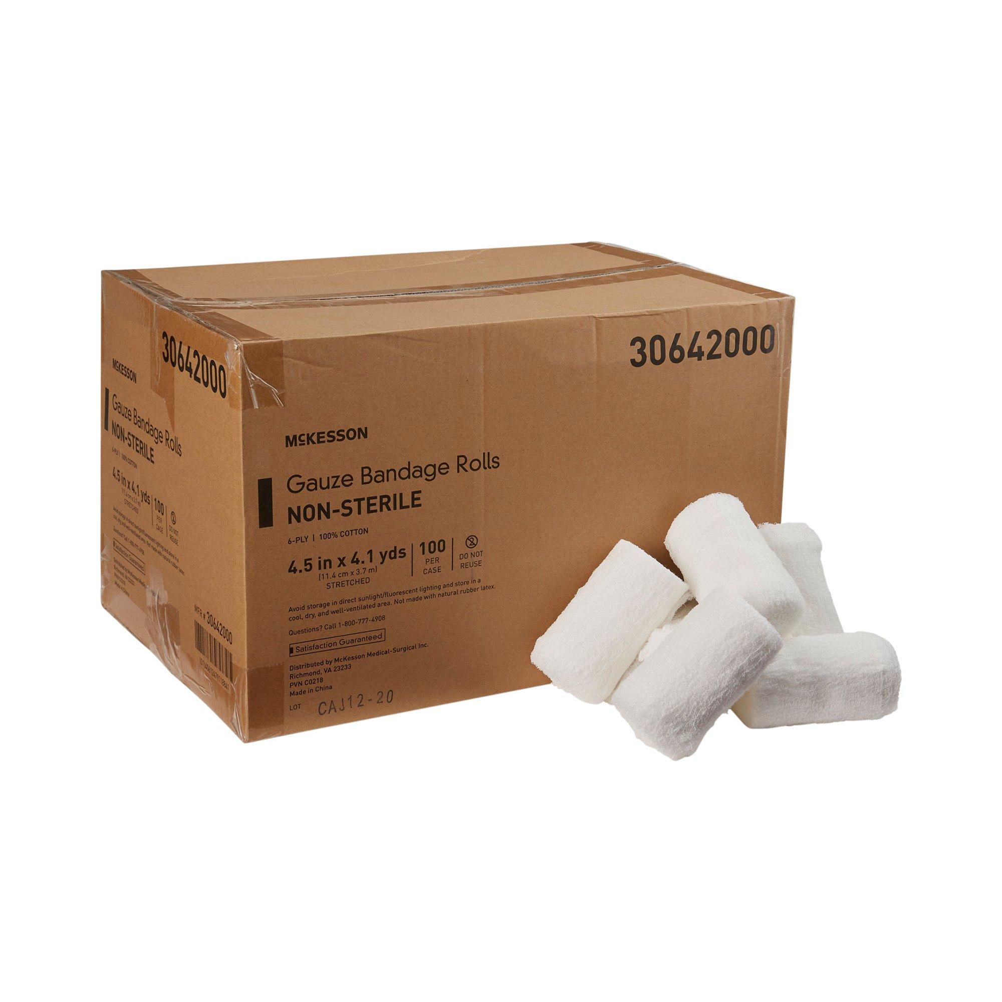 "McKesson Gauze Bandage Rolls,  4.5"" X 4-1/10 yd, 30642000, Case of 100"