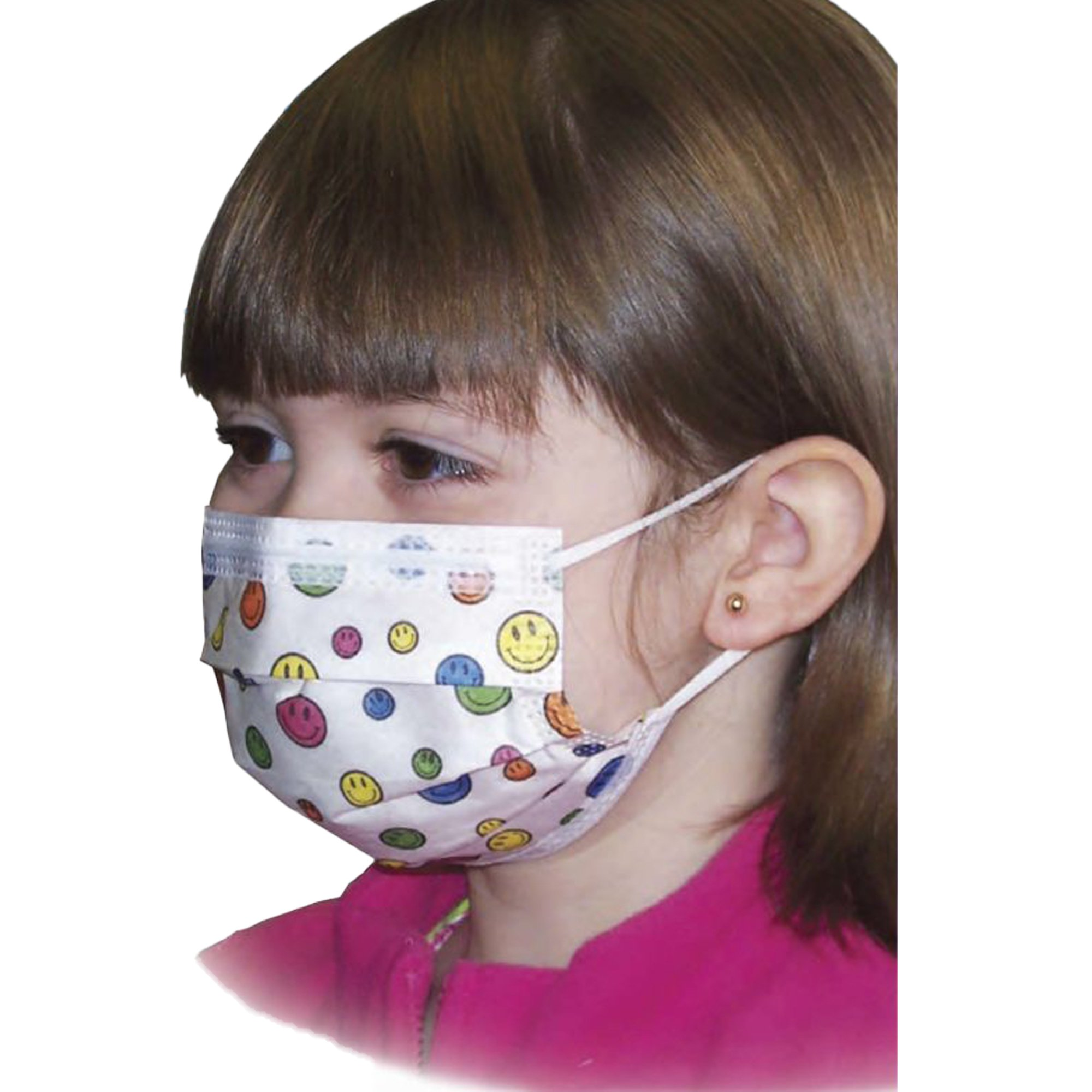 Aspen Surgical Products Kids Procedure Mask Pleated Earloops, Happy Face Print, 15150, Box of 75