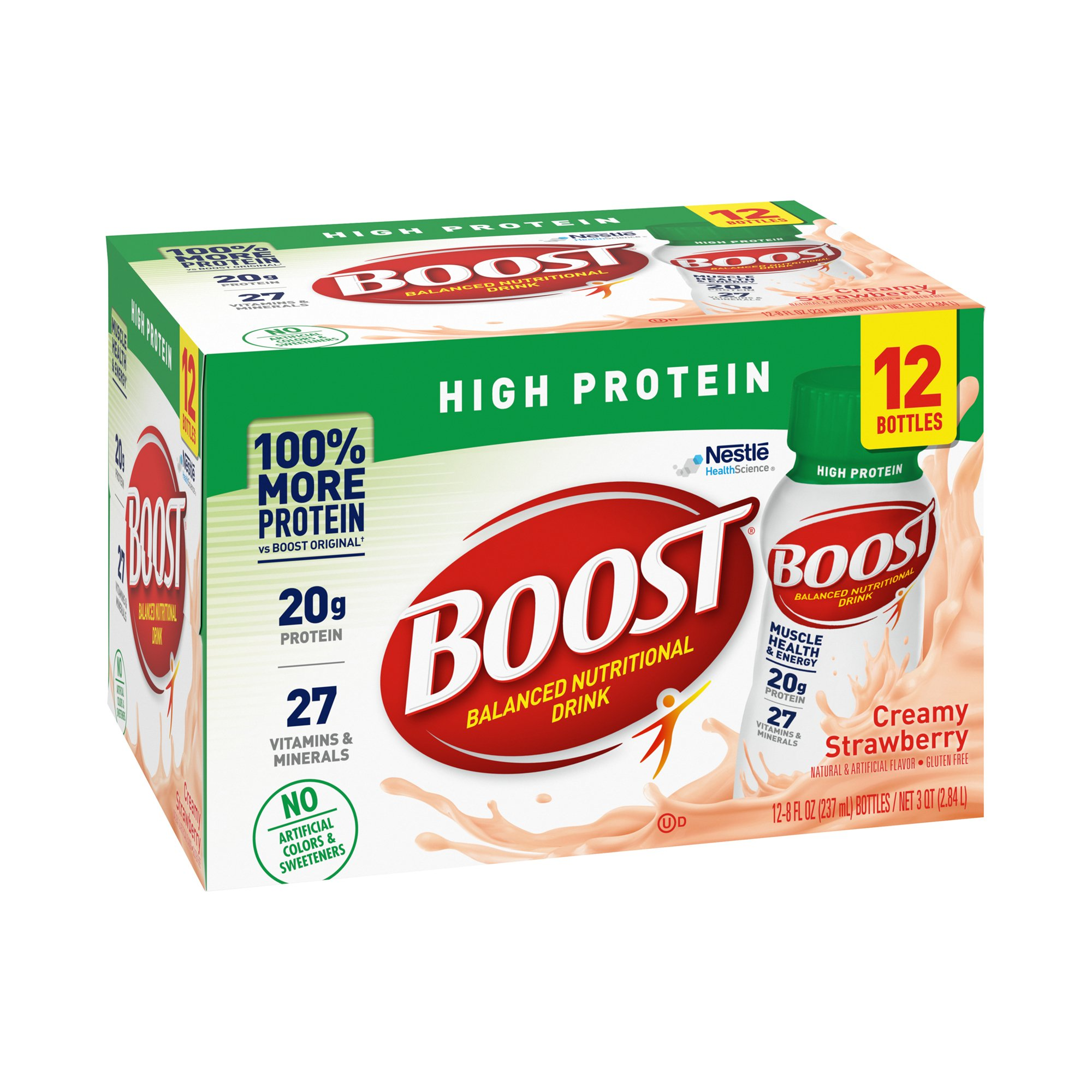 Boost High Protein Balanced Nutritional Drink, 8 oz., Creamy Strawberry, 12384278, Pack of 12
