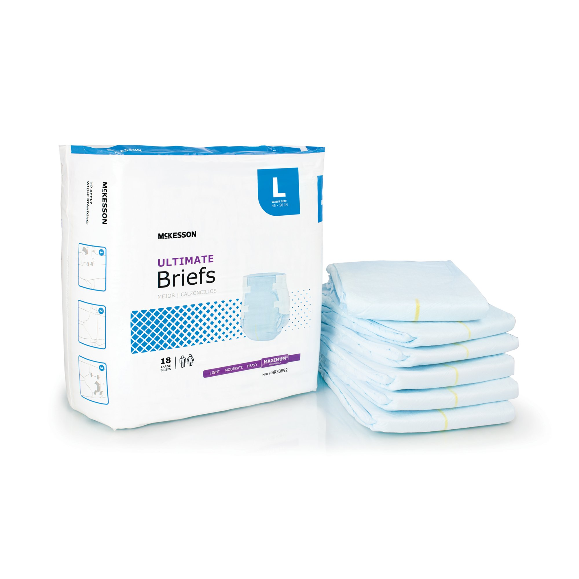 """McKesson Ultimate Brief Adult Diapers with Tabs, Maximum Absorbency, BR33892, Blue - Large (45-58"""") - Case of 72 (4 Bags)"""