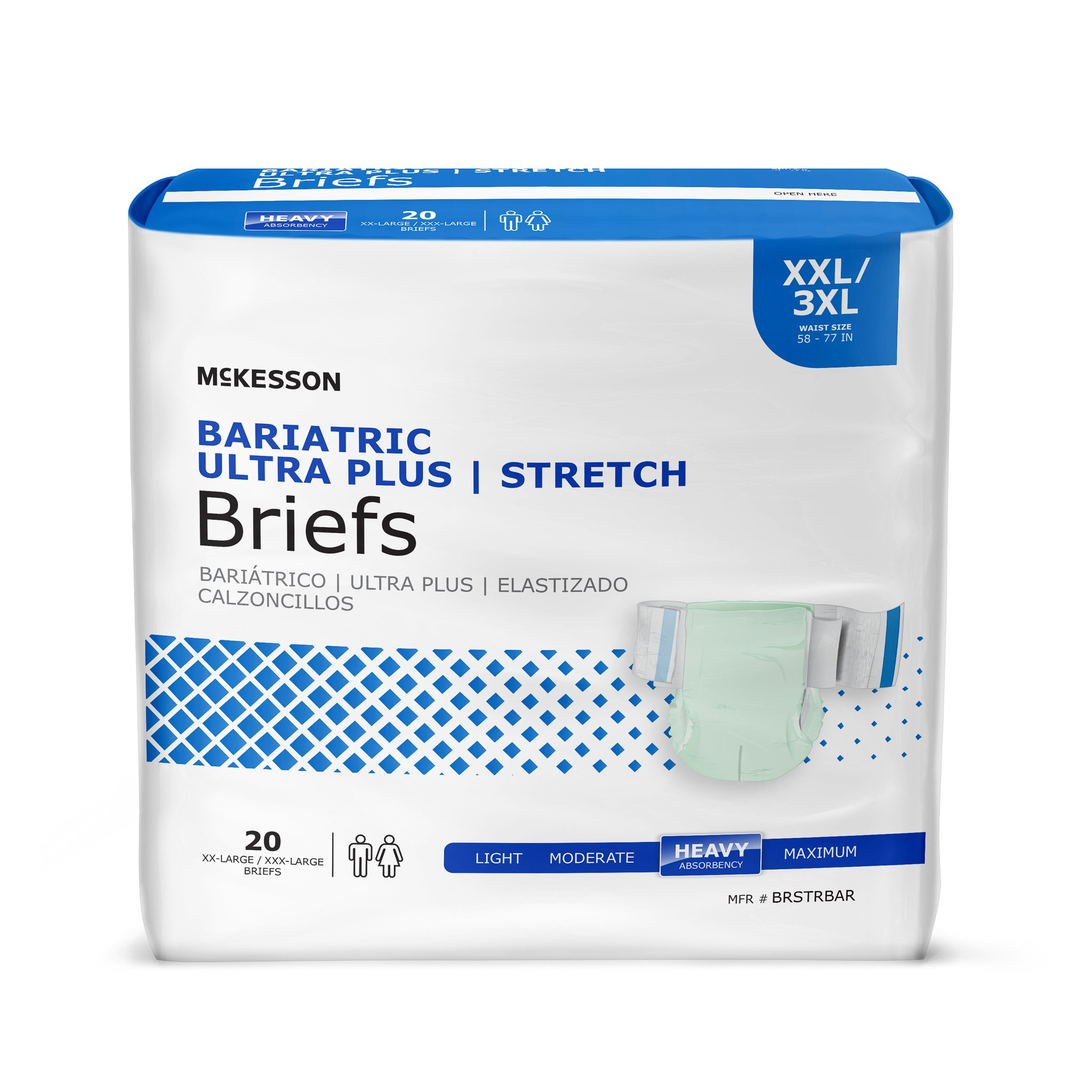 """McKesson Bariatric Ultra Plus Stretch Brief Adult Diapers with Tabs, Heavy Absorbency, BRSTRBAR, Light Green - 2XL/3XL (58-77"""") - Bag of 20"""