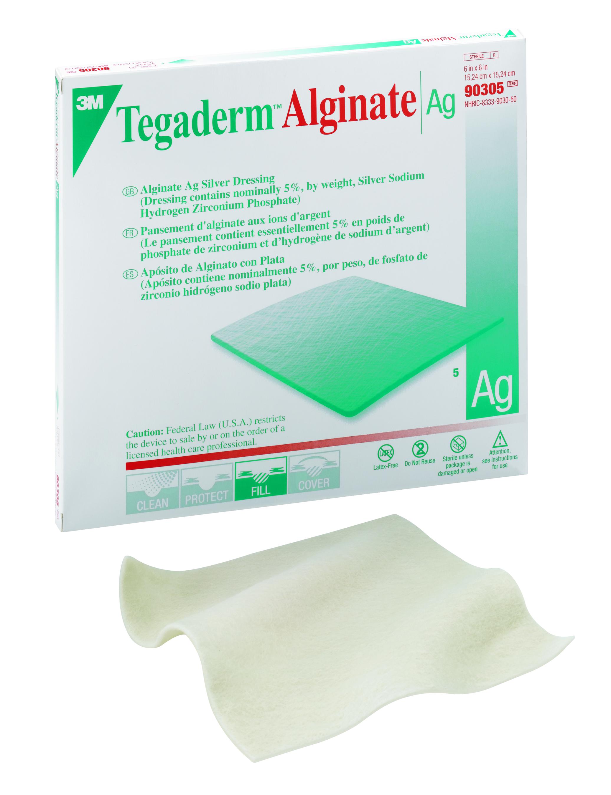 "3M Tegaderm Alginate Ag Silver Dressing, 6 X 6"", 90305, Box of 5"