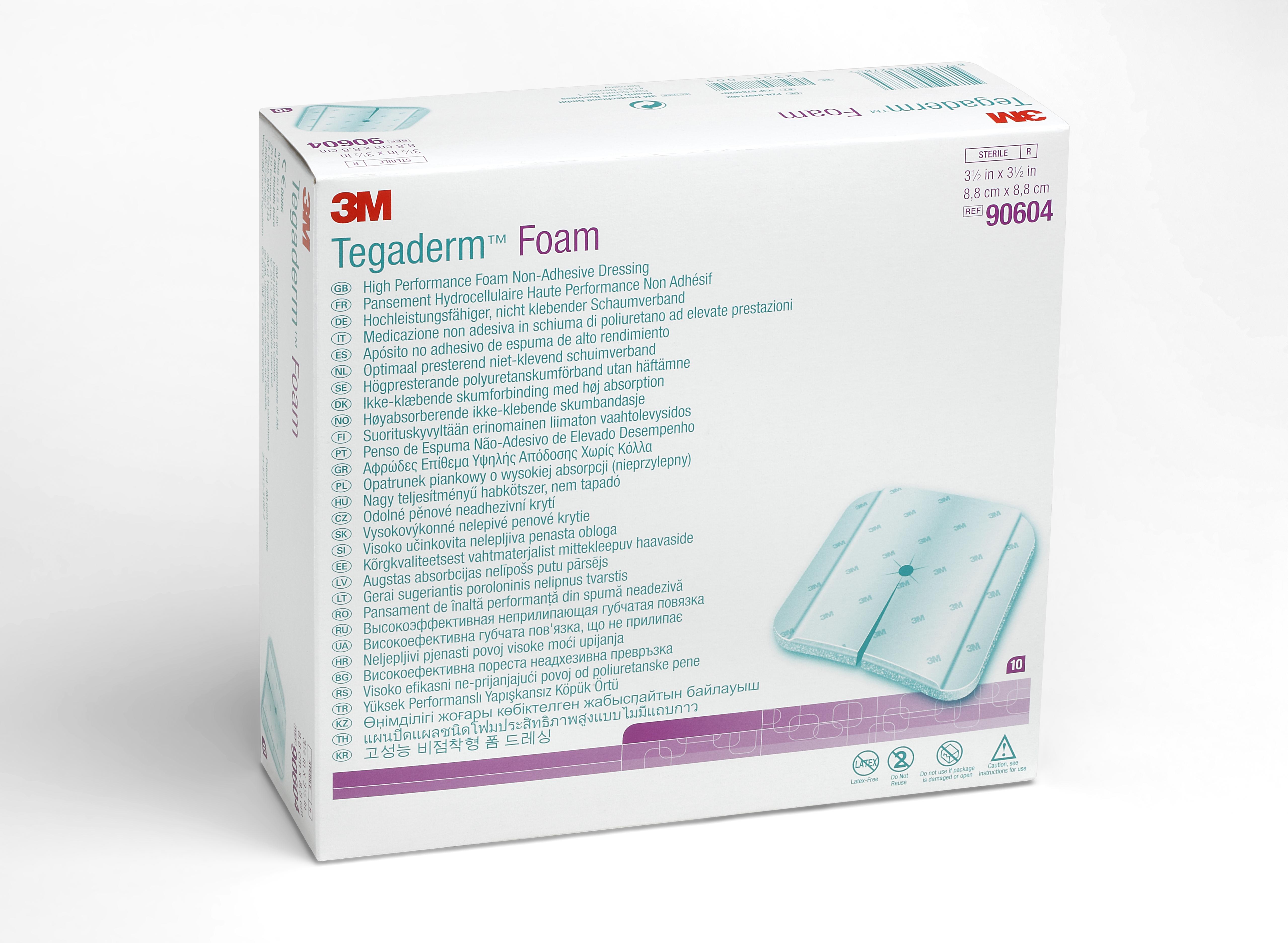 "3M Tegaderm Foam High Performance Foam Non-Adhesive Dressing, 3.5 X 3.5"", 90604, Box of 10"