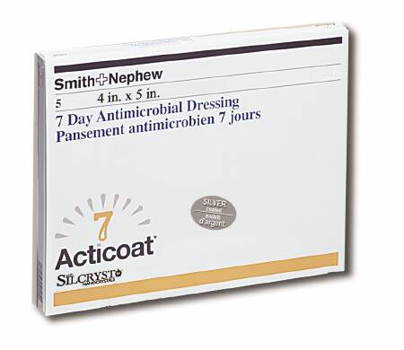 """Acticoat 7 Day Antimicrobial Dressing, 4 X 5"""", 20141, Pack of 5"""