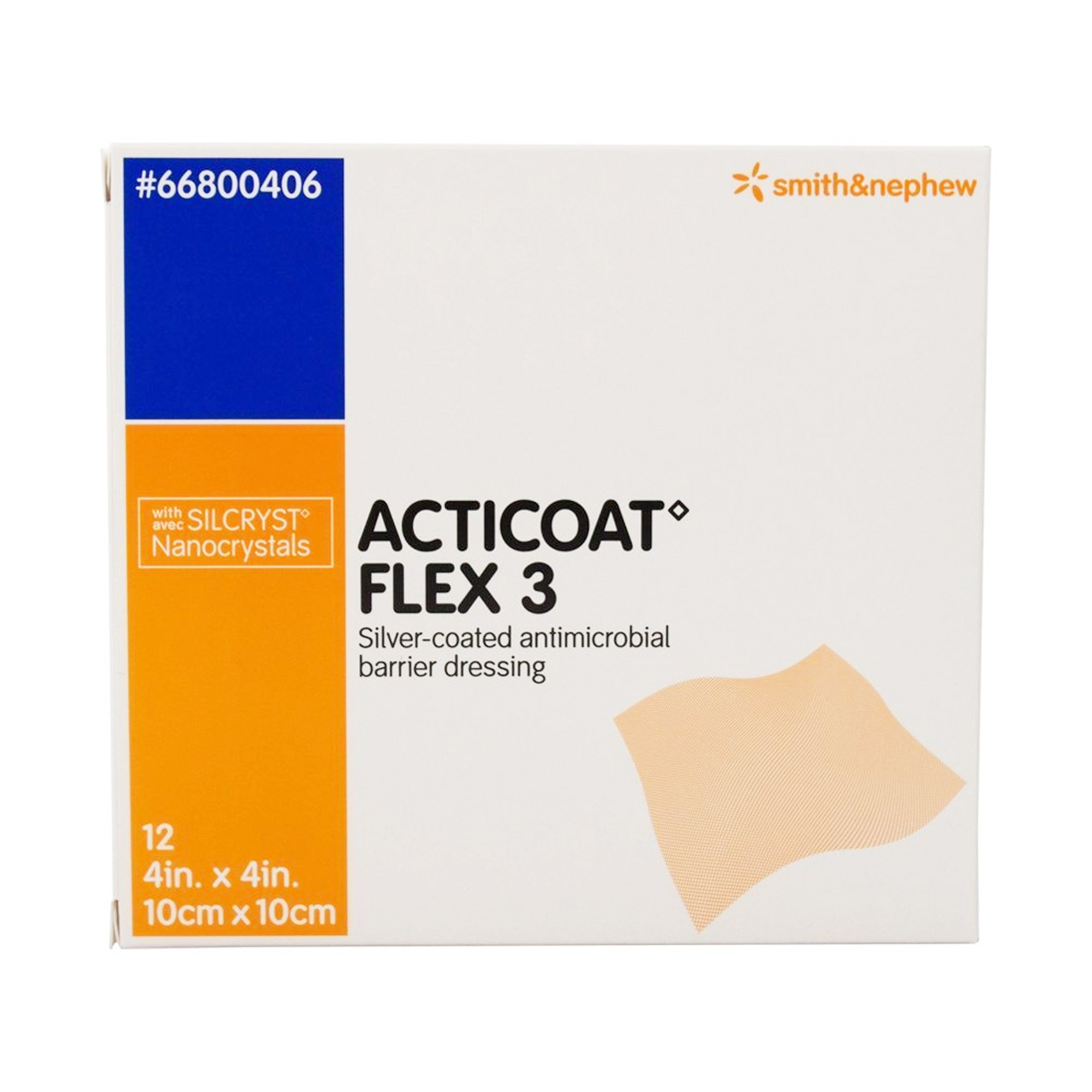 """Acticoat Flex 3 Silver-coated Antimicrobial Barrier Dressing, 4 X 4"""", 66800406, Box of 12"""