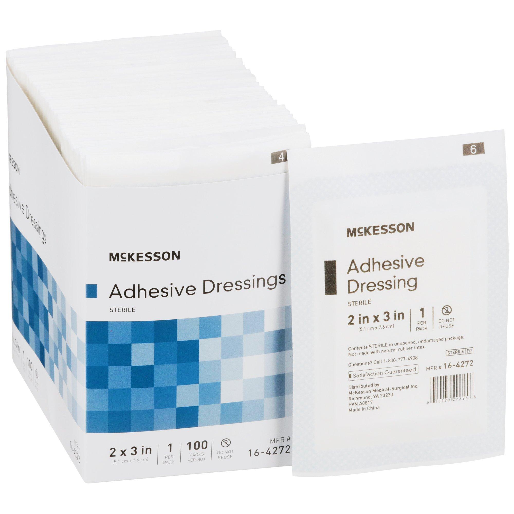"McKesson Adhesive Dressing, 2 X 3"", 16-4272, Box of 100"