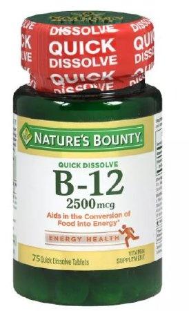Nature's Bounty Quick Dissolve B-12, 2500 mcg, 75 Tablets, 07431258911, 1 Bottle