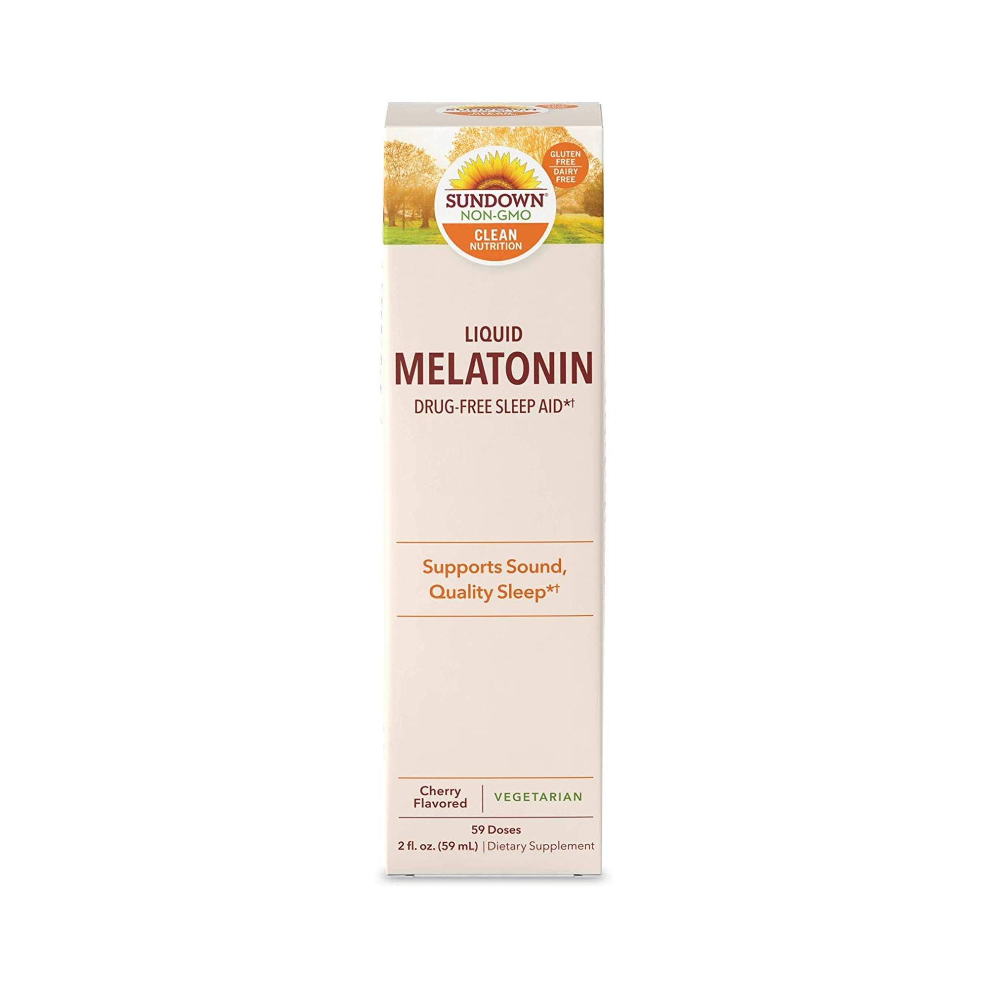 Sundown Liquid Melatonin Drug-Free Sleep Aid, Cherry Flavor, 2 oz., 03076816836, 1 Each