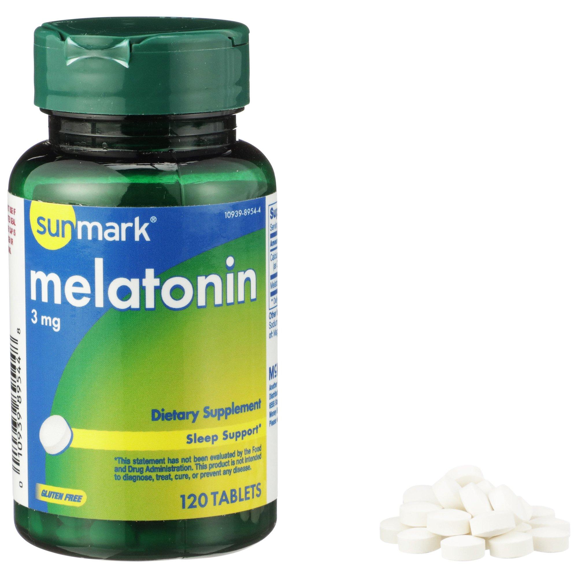 Sunmark Melatonin Dietary Supplement, 3 mg, 120 Tablets, 01093989544, 1 Bottle