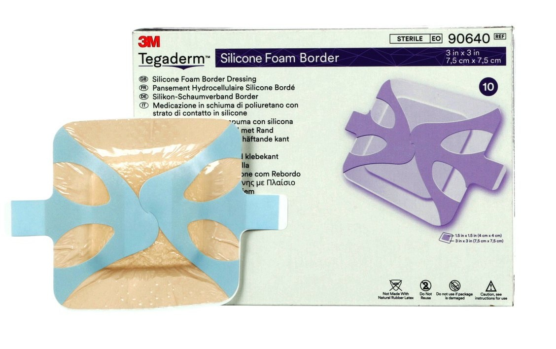 "3M Tegaderm Silicone Foam Border Dressing, 3 X 3"", 90640, Box of 10"