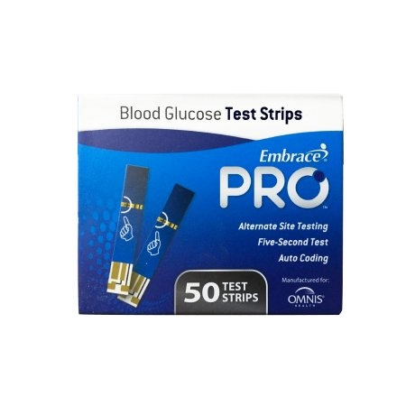 Embrace Pro Blood Glucose Test Strips, ALL02AM0202, Box of 50