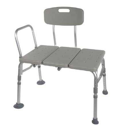 McKesson Knocked Down Bath Transfer Bench with Removable Arm Rail, 146-12011KD-1, Gray - 1 Each