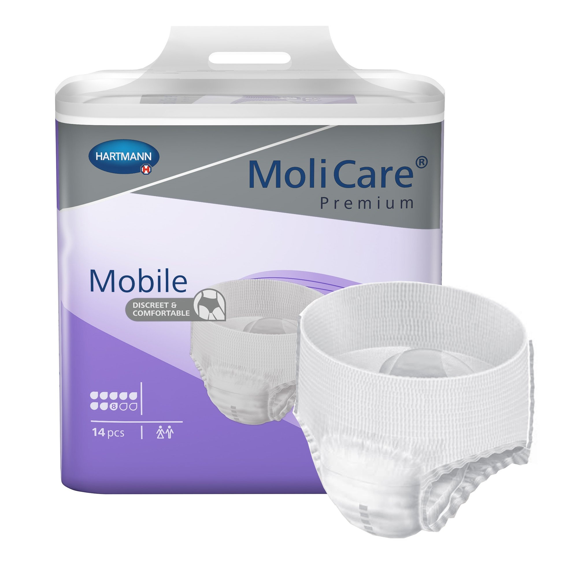 """MoliCare Premium Mobile Pull-Up Underwear, 8 Drops Heavy Absorbency, 915873, Large (39-59"""") - Case of 56"""