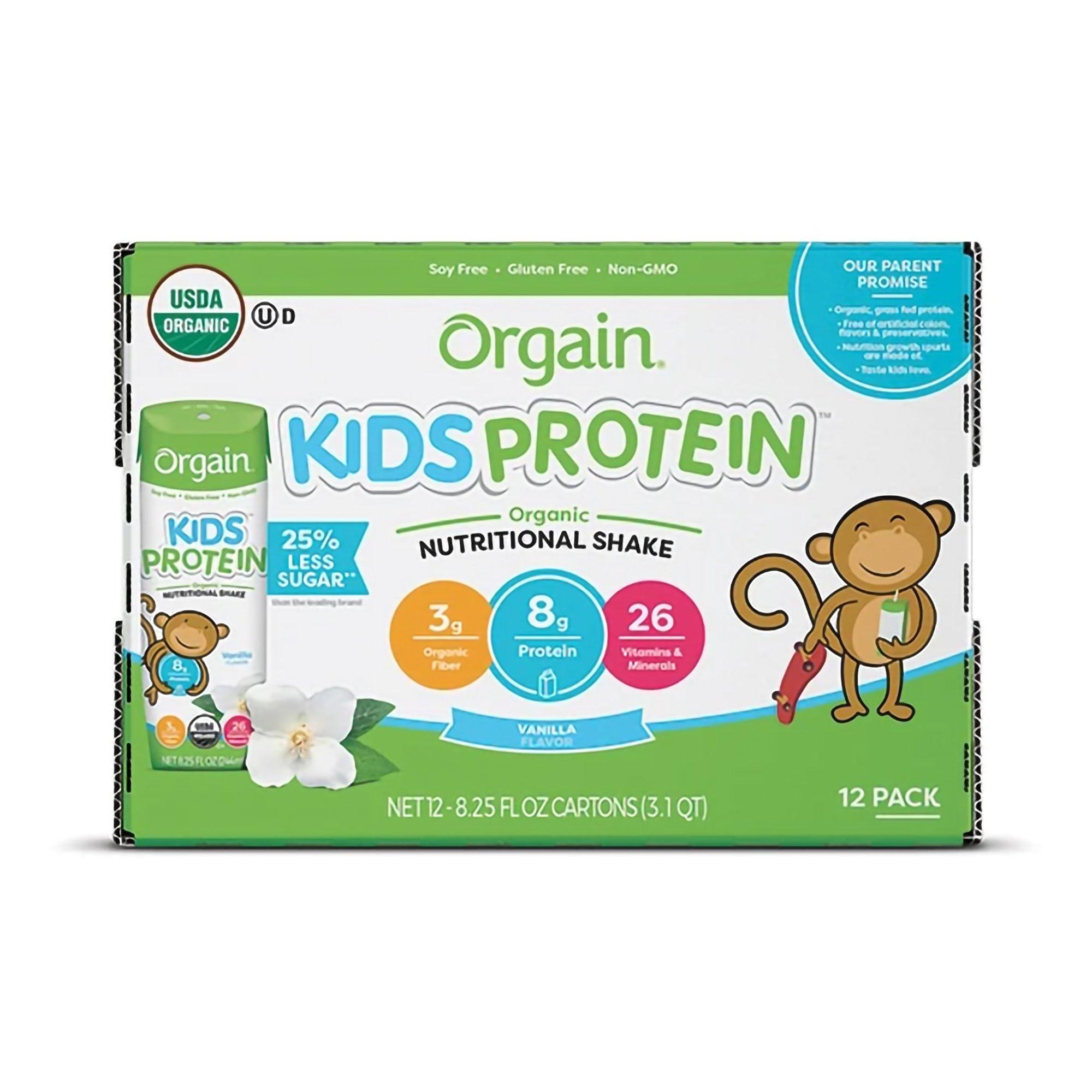 Orgain Kids Protein Organic Nutritional Shake, Vanilla, 8.25 oz., 851770003100, Case of 12