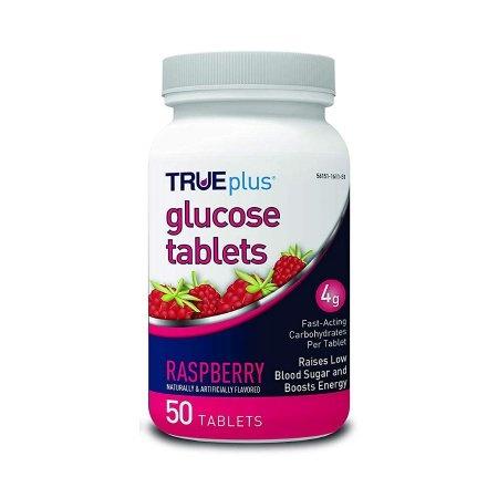 TRUEplus Chewable Glucose Tablets, Raspberry Flavor, 50 Tablets, P1H01RS-50, 1 Bottle