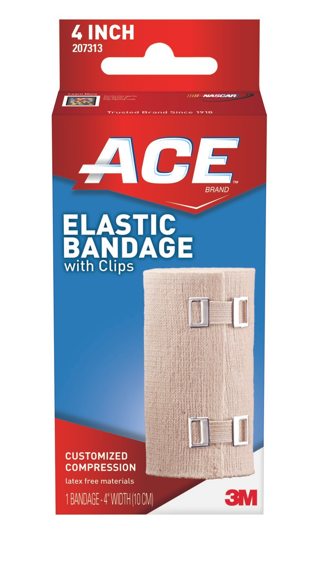 """3M ACE Elastic Bandage with Clips, 207313, 4"""" - 1 Each"""
