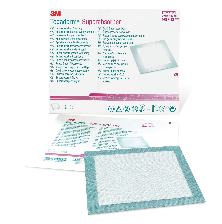 "3M Tegaderm Superabsorber Dressing, 7-7/8 X 7-7/8"", 90703, Box of 10"