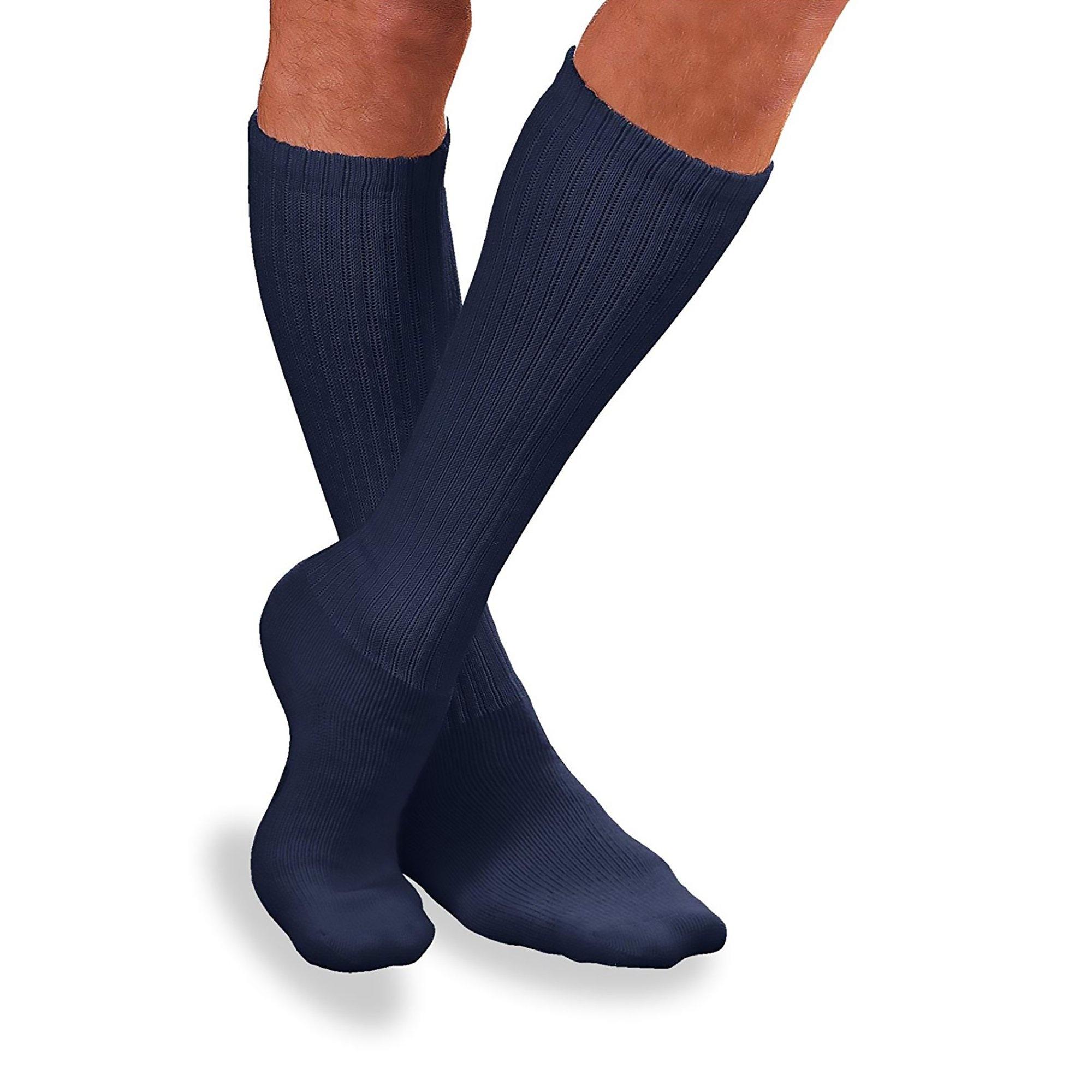 JOBST Sensifoot Crew Length Diabetic Compression Socks, 8-15 mmHg, 110848, Navy - Large - 1 Pair