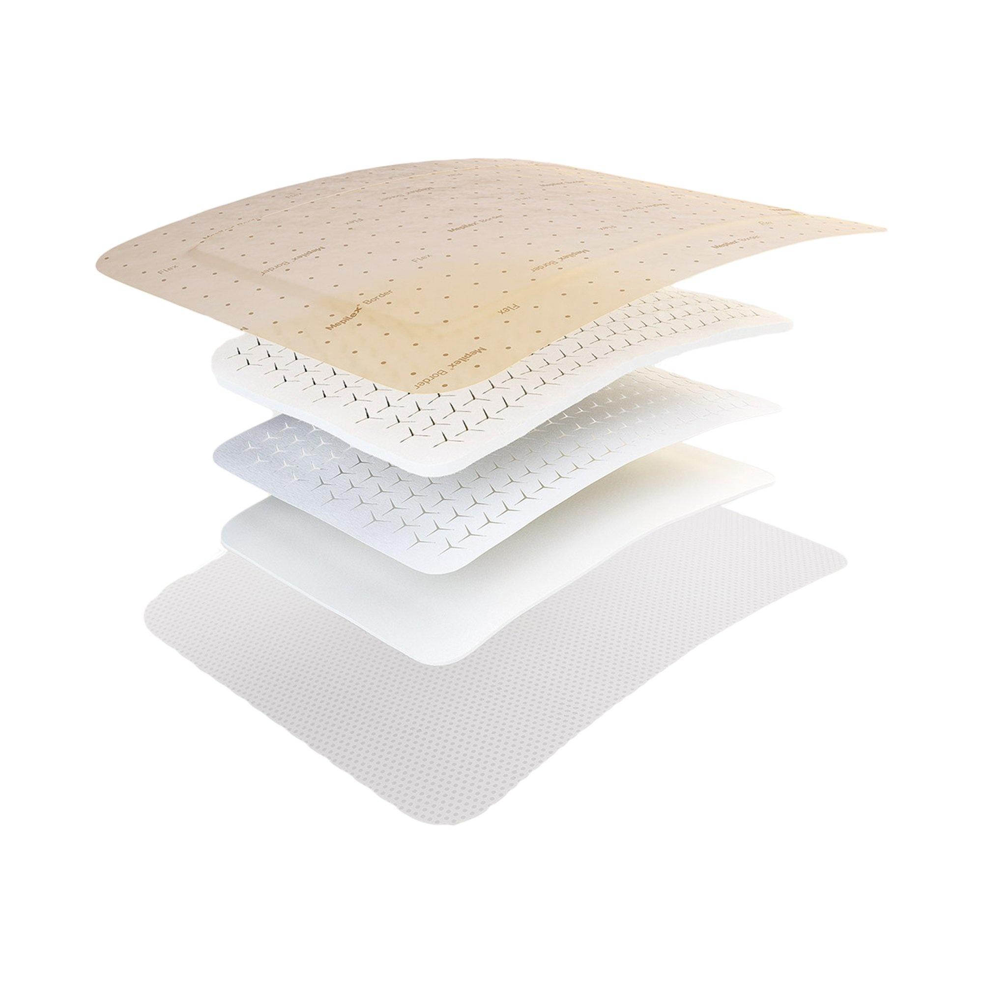 """Molnlycke Mepilex Border Flex Self-Adherent Soft Silicone Foam Dressing, 6 X 6"""", 595400, Box of 5"""
