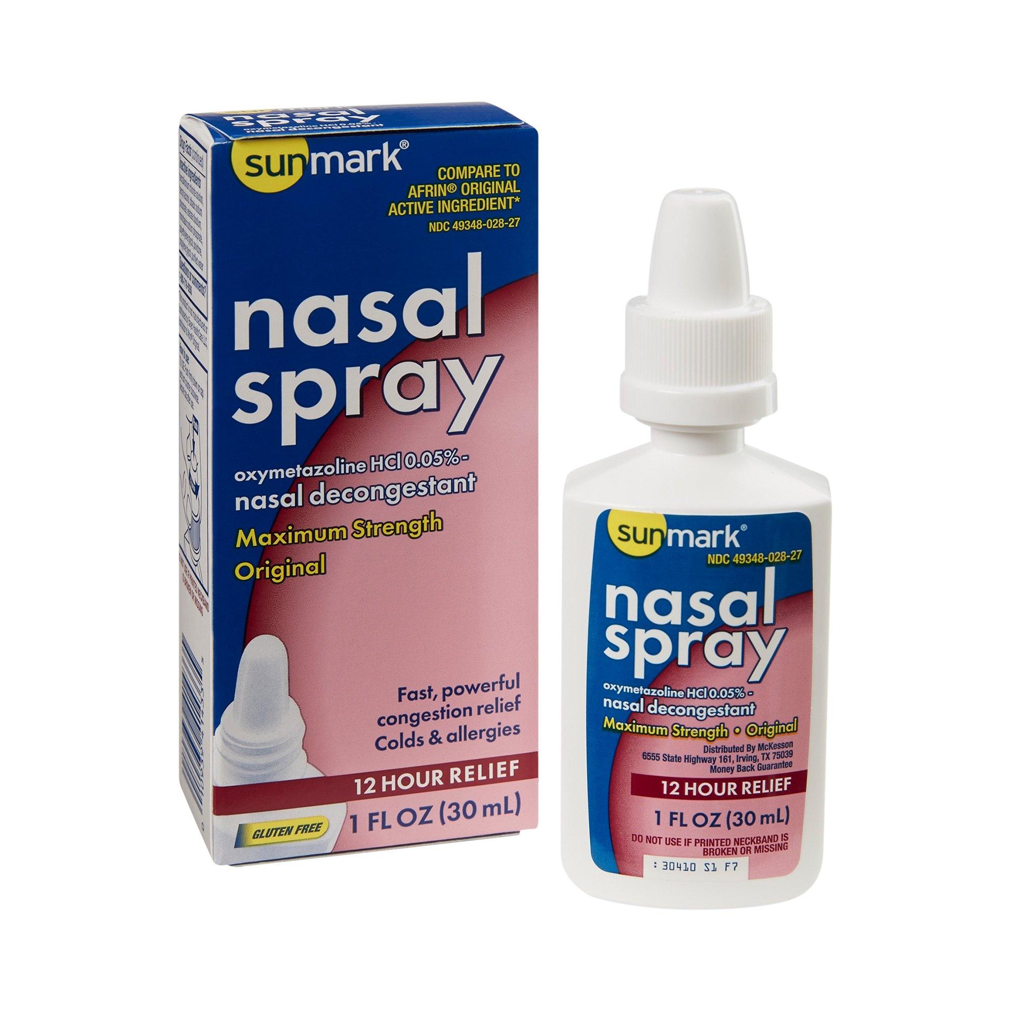 sunmark Maximum Strength Oxymetazoline HCl Nasal Spray, 1 oz., 49348002827, 1 Bottle