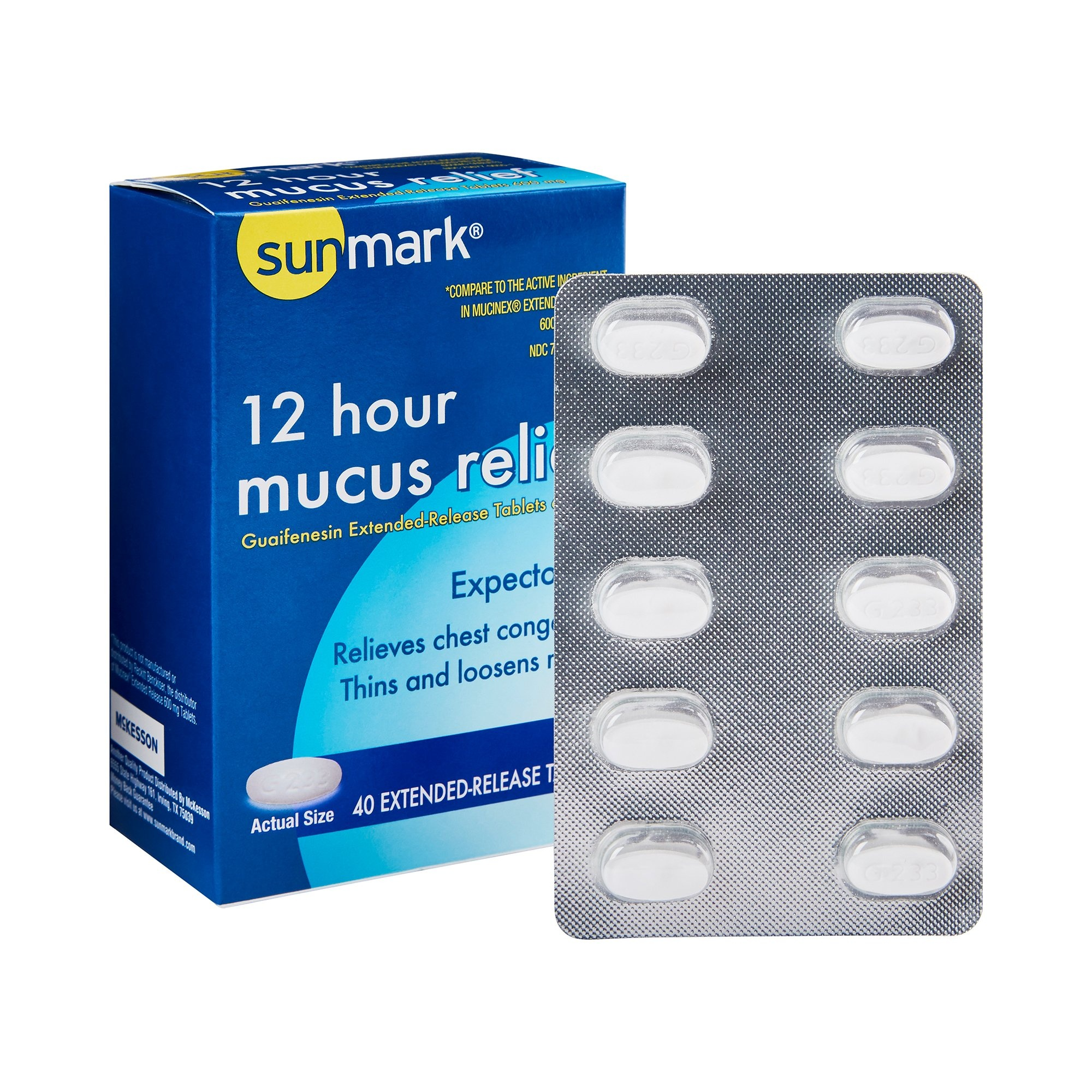sunmark 12 Hour Mucus Relief Tablets, 600 mg, 70677005501, 40 Tablets - 1 Bottle
