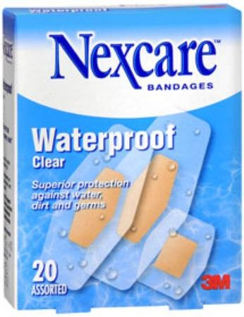 """3M Nexcare Clear Waterproof Bandages, 1-1/16 X 2.75"""", 05113199524, Box of 20"""