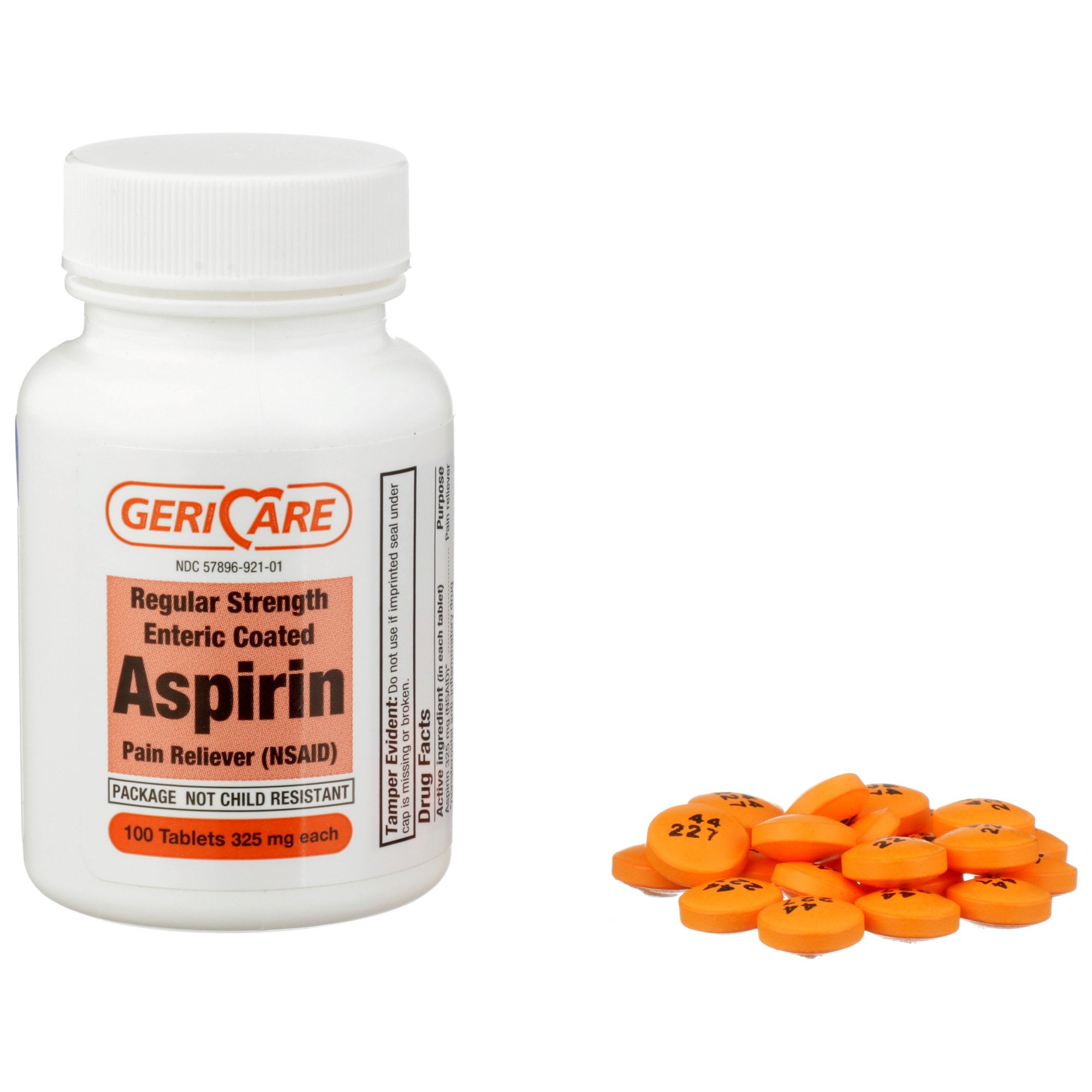 Geri-Care Regular Strength Enteric Coated Aspirin, 325 mg, 60-921-01, 100 Tablets - 1 Bottle