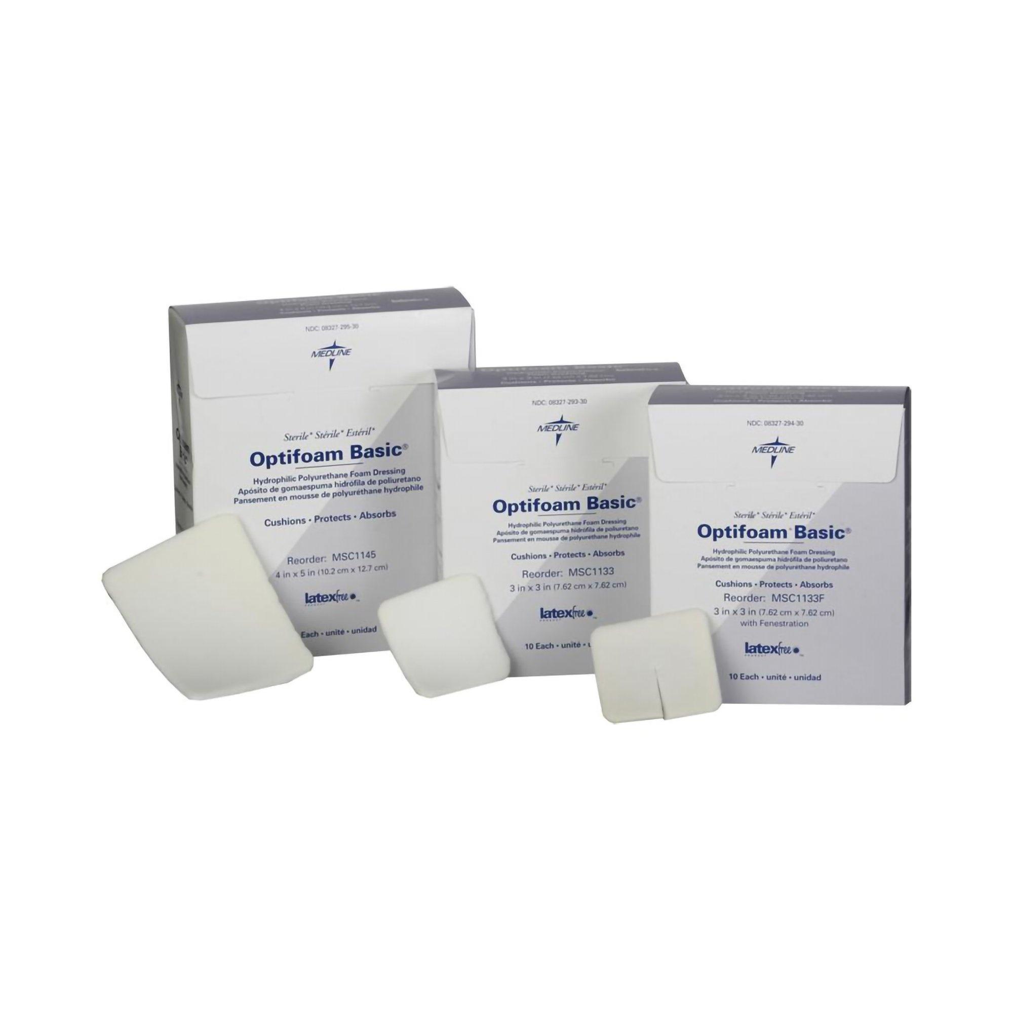 """Optifoam Basic Hydrophilic Polyurethane Foam Dressing with Fenestration, 3 X 3"""", MSC1133F, Box of 10"""