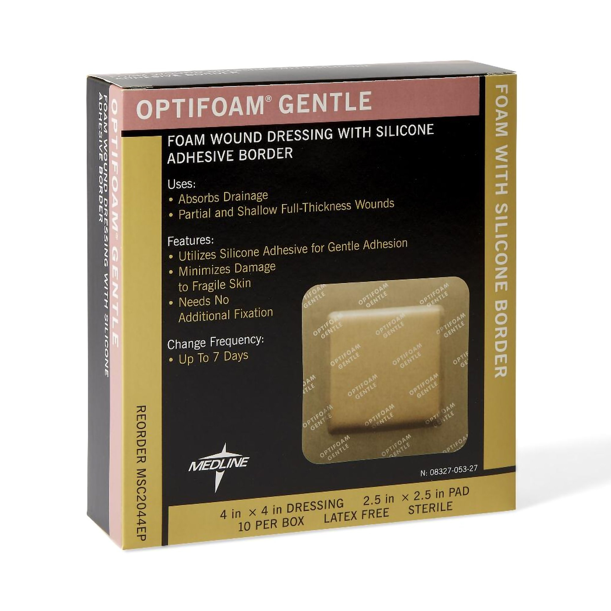 """Optifoam Gentle Foam Wound Dressing with Silicone Adhesive Border, 4 X 4"""", MSC2044EP, Box of 10"""