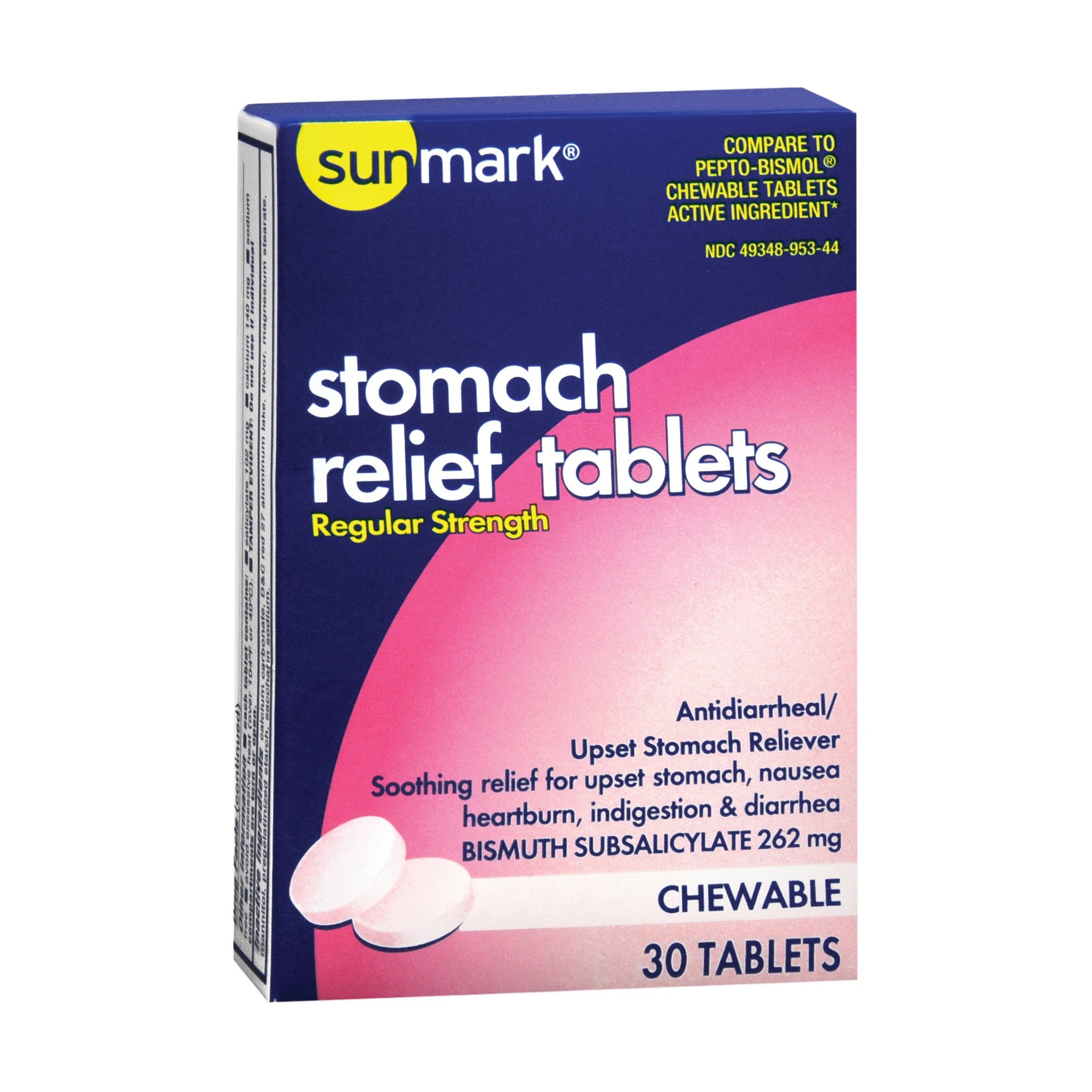 sunmark Regular Strength Stomach Relief Tablets, 262 mg, 30 Tablets, 49348095344, Box of 30