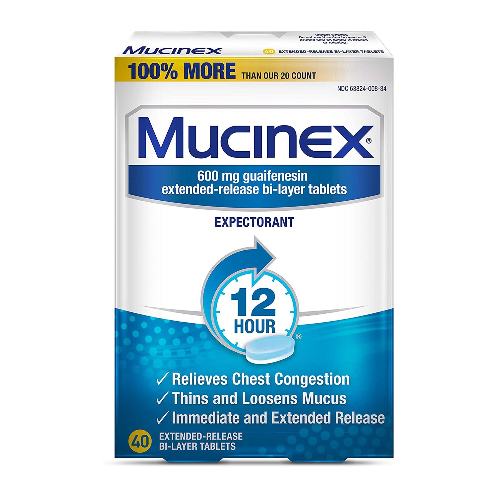 Mucinex Guaifenesin Cold and Cough Relief, 600 mg, 63824000834, Box of 40