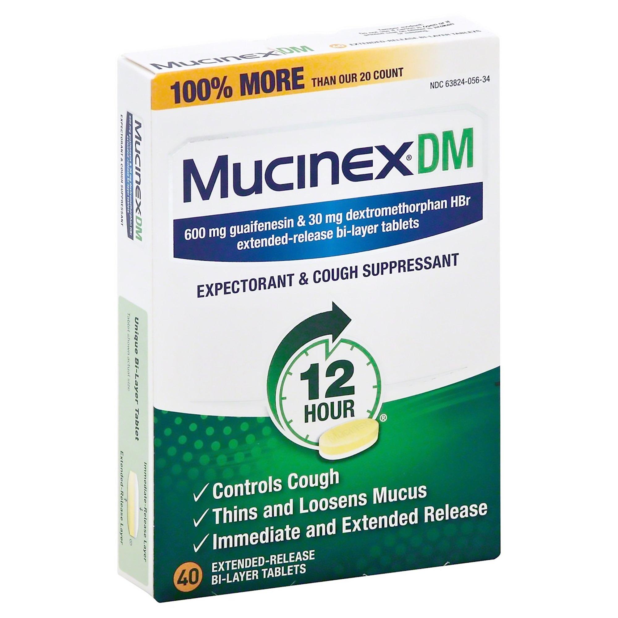 Mucinex DM Expectorant & Cough Suppressant, 600 mg, 63824005634, Box of 40