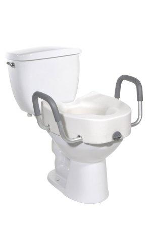 drive Premium Plastic, Raised, Elongated Toilet Seat with Lock, 12013, 1 Each
