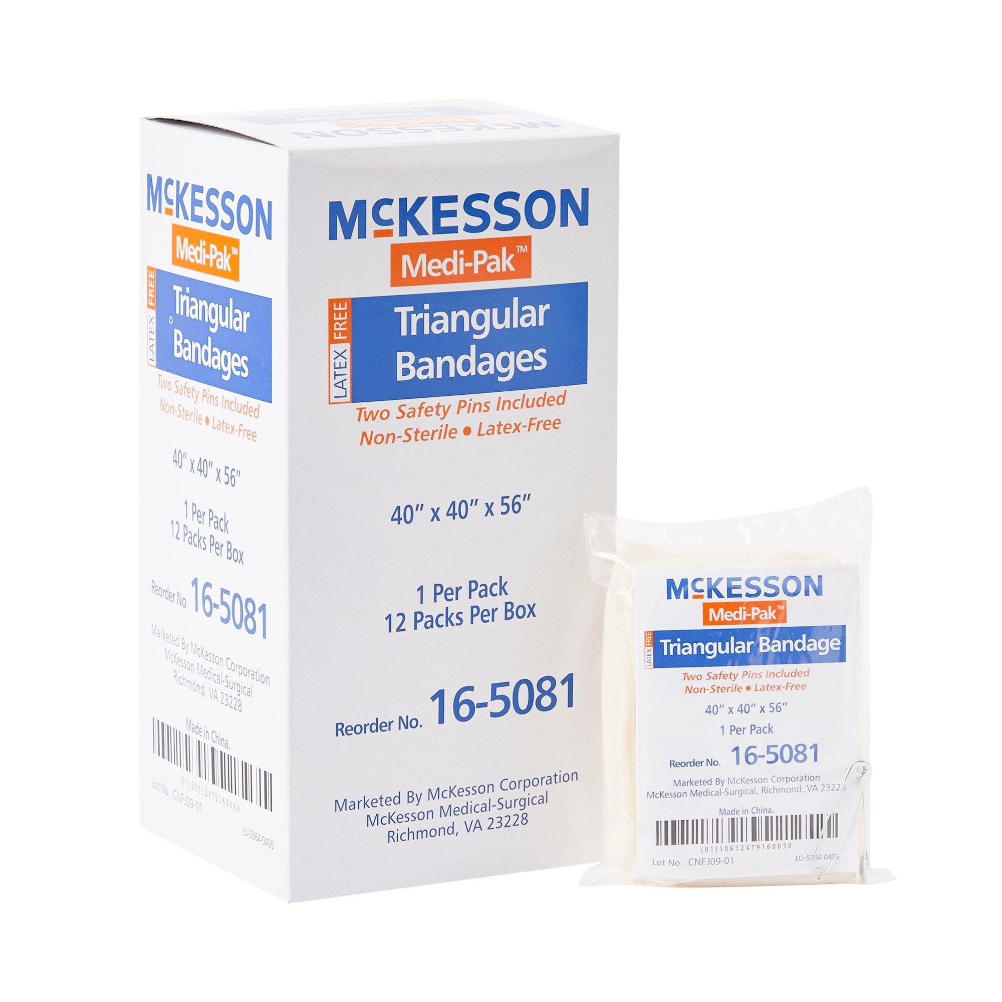 McKesson Medi-Pak Triangular Bandages/Sling, 16-5081, Case of 72 (6 Boxes)