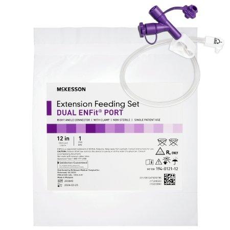 "McKesson Dual ENFit Port Extension Feeding Set, Right Angle, 12"", 194-0121-12, Box of 5"
