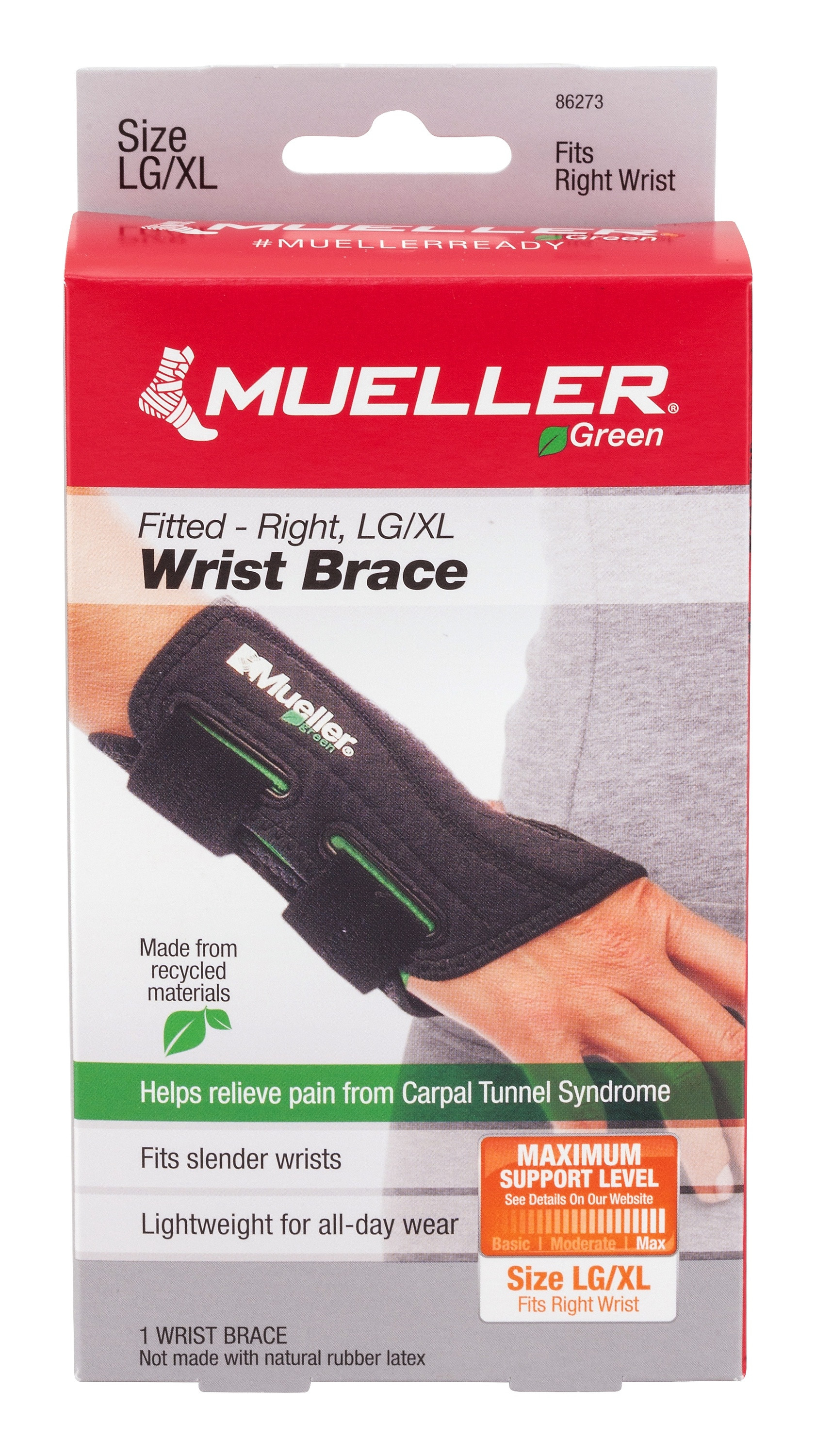 """Mueller Green Fitted-Right Wrist Brace, 86273, Large/X-Large (8-10"""") - 1 Each"""