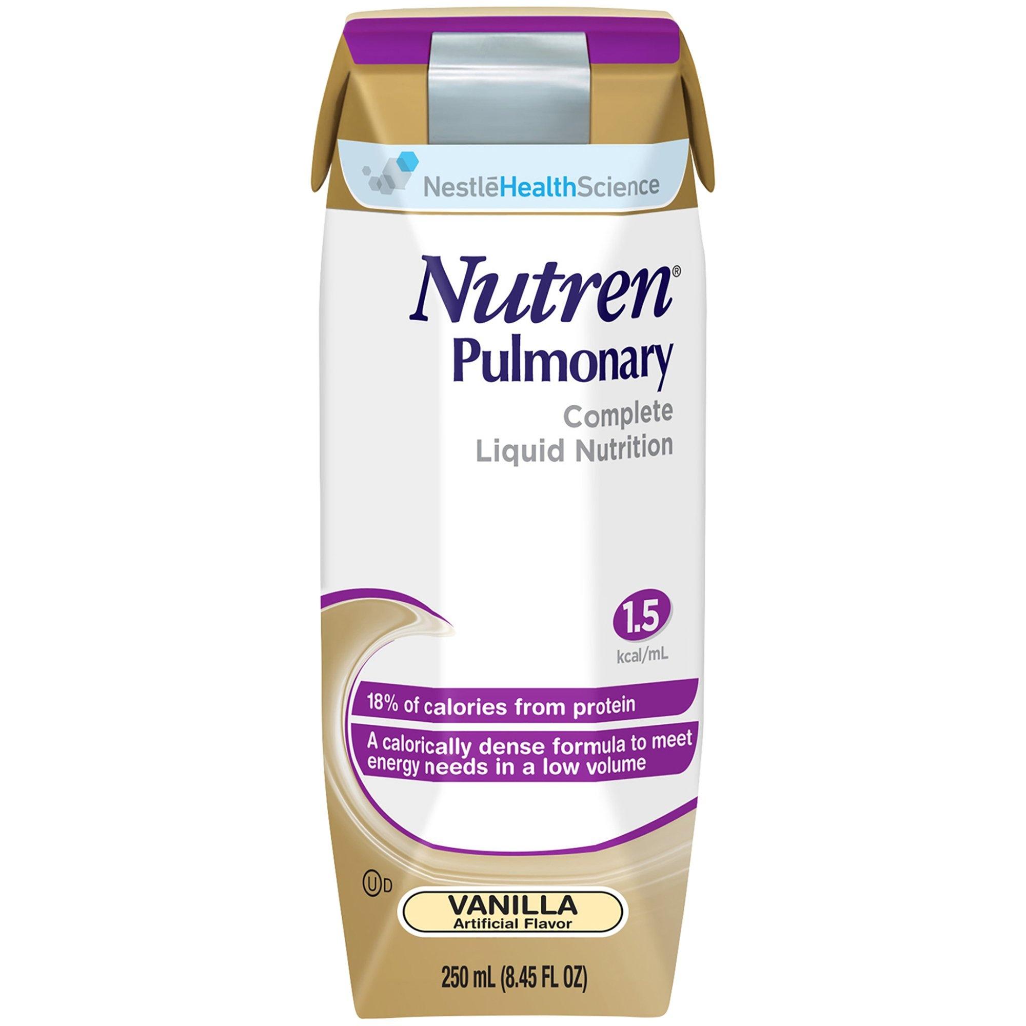 Nestle HealthScience Nutren Pulmonary Complete Liquid Nutrition Oral Supplement/Tube Feeding Formula, Vanilla, 250 mL, 00798716164801, 1 Each