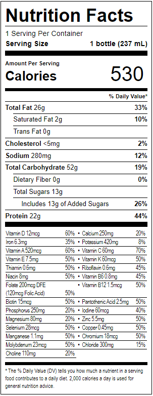 Boost Nutrition Facts