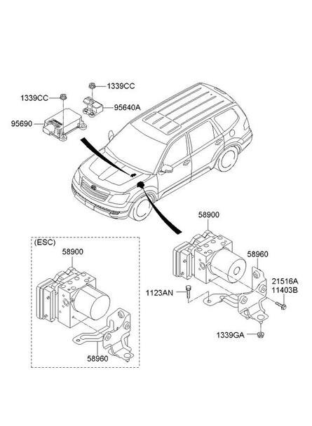 Hydraulic Abs Module 589202j200 For Kia Mohave Borrego