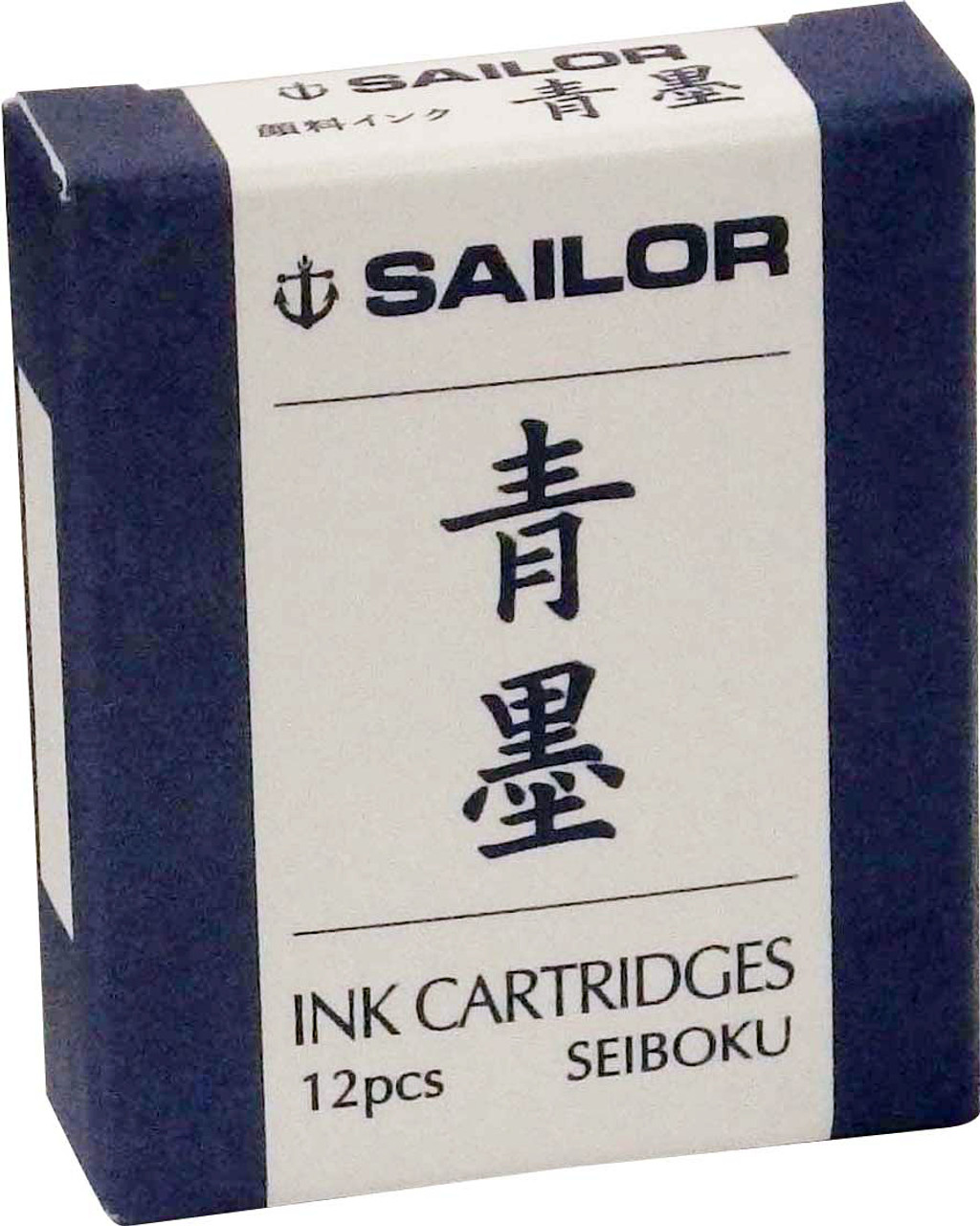 Sailor Fountain Pen Pack Of 12 Seiboku Blue Black Pigment Ink Cartridges