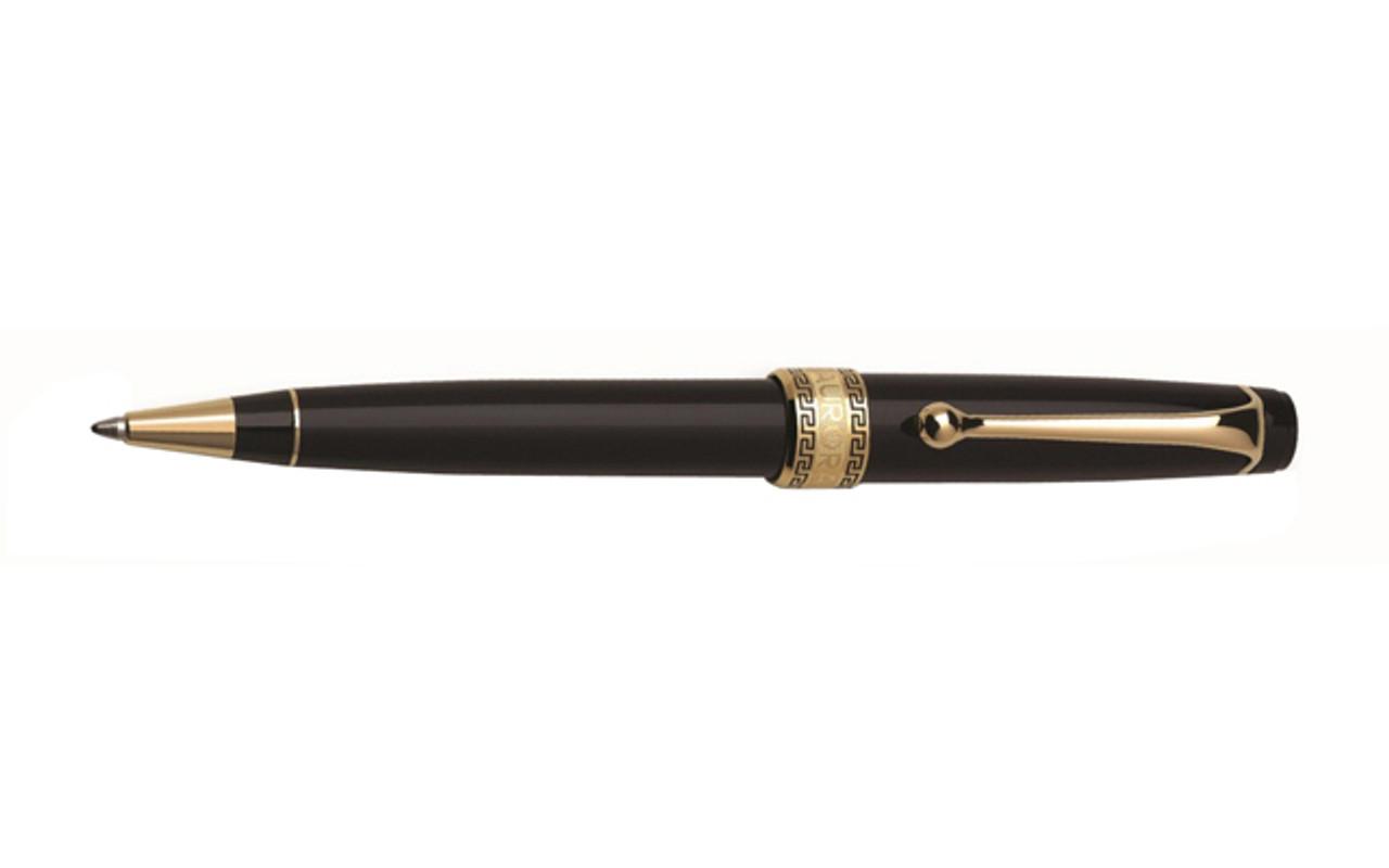 Aurora Optima Black Gold Plated Trim Ballpoint Pen