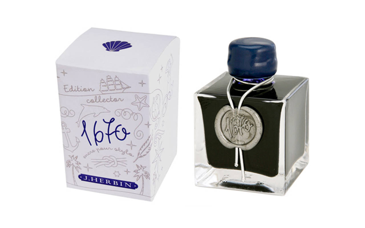J Herbin Fountain Pen 1670 Anniversary 50ml Blue Ocean Bottle Ink