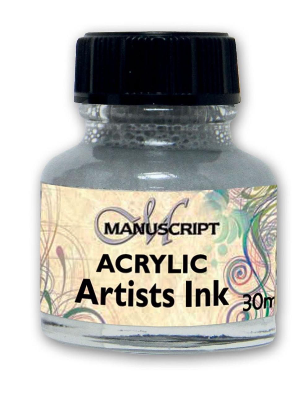 Manuscript 30ml Metallic Silver Artists Acrylic Ink Bottle