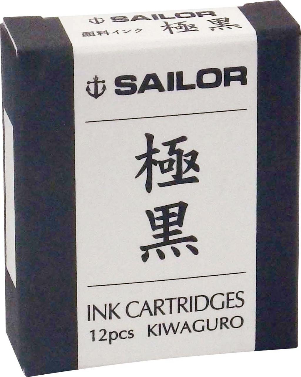 Sailor Fountain Pen Pack Of 12 Kiwaguro Pigment Black Ink Cartridges
