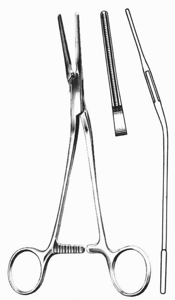 """DeBakey Patent Ductus Vascular Clamp 8"""" Angular Jaws 