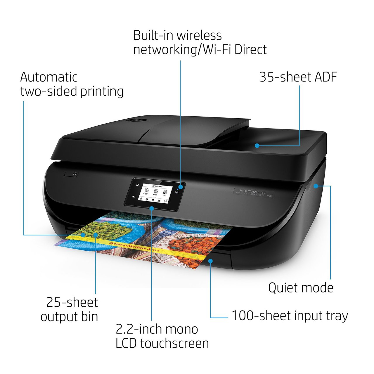 HP OfficeJet 4650 Wireless All-in-One Photo Printer in Black (Certified  Refurbished)
