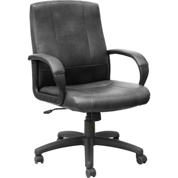 Black vinyl Mid-Back Office Chair AQ-1002, AQ-1002, Black vinyl mid-back office chair, vinyl office furniture